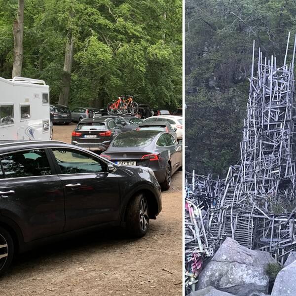 Biltrafik på parkering i Kullabergs naturreservat. Fotomontage med nimis konstverk