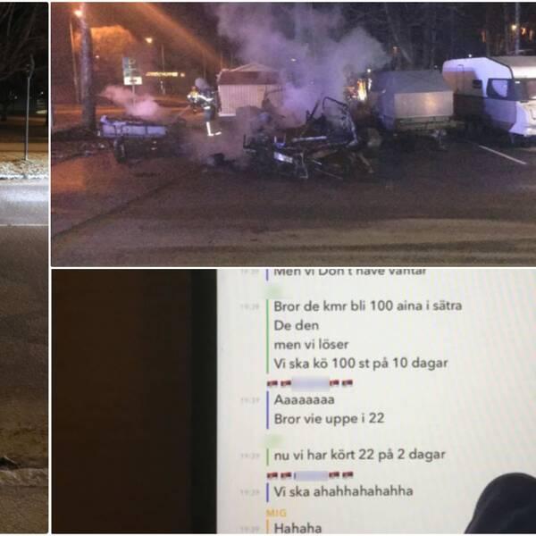 Till vänster: bänkar som placerats ut på bilväg. Övre högerkant: bilbrand i Gävle, januari 2020. Nedre högerkant: meddelandekonversation mellan gärningsmännen i Snapchat.