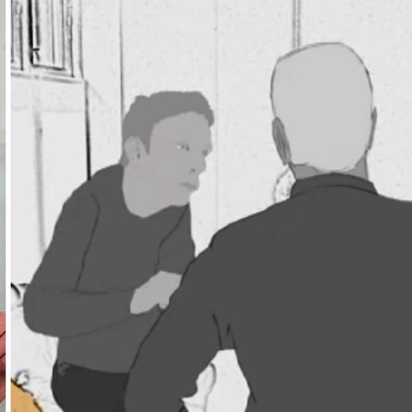 Till vänster en bild på autistiske Dick som fått utstå hot och kränkningar från en ur personalen på ett LSS-bonde och till höger en animerad bild som föreställer händelsen.