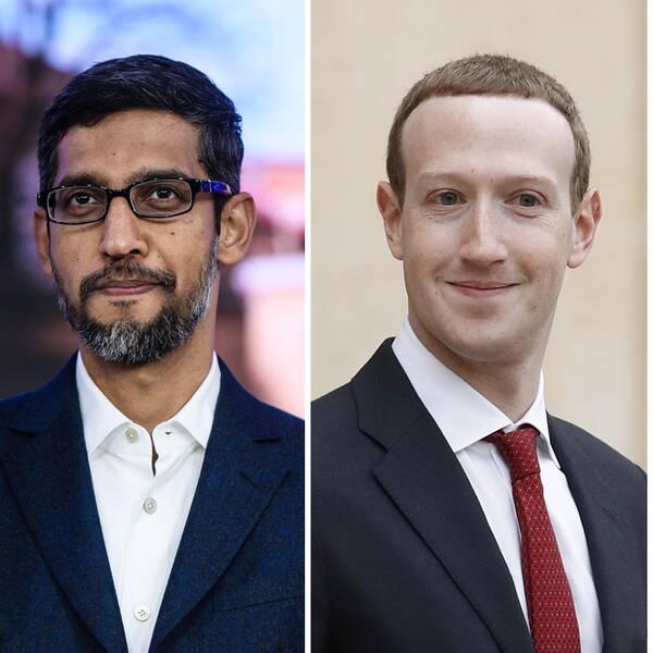 Amazons vd Jeff Bezos, Google och Alphabets vd Sundar Pichai, Facebooks vd Mark Zuckerberg och Apples vd Tim Cook.