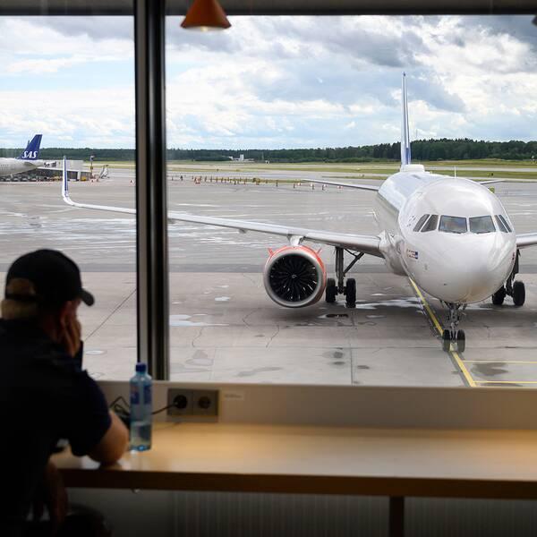SAS-plan på Terminal 5 på Arlanda flygplats.