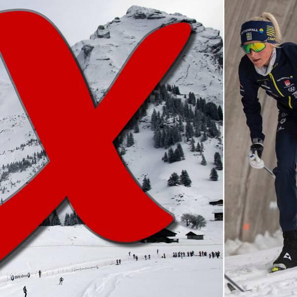Istället för de franska alperna får Frida Karlsson och de andra i skidlandslaget hålla till godo med Sverige, där de exempelvis kan träna i Torsbys skidtunnel.