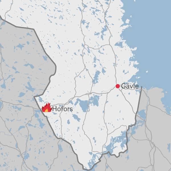 Karta över Gästrikland med Hofors markerat i bild