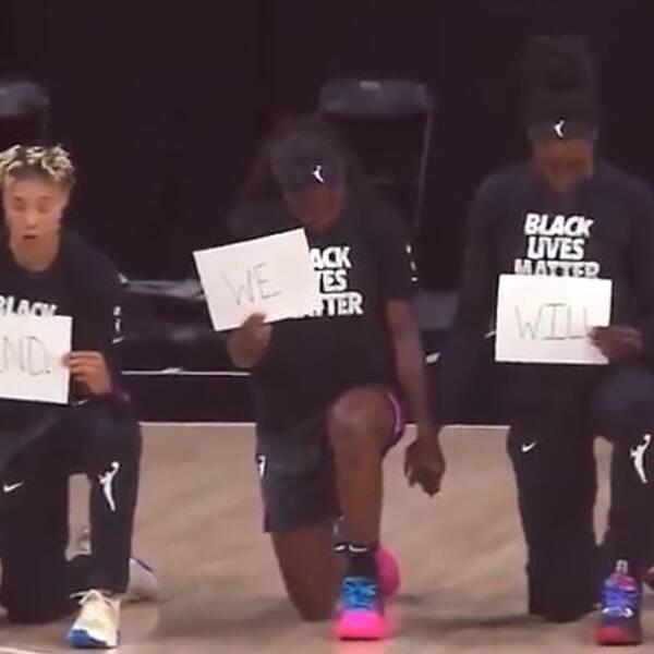Efter protester och uppskjutna matcher var den nordamerikanska basketligan för damer, WNBA, tillbaka i natt. Connecticuts tränare Curt Miller i tårar när han pratar om protesterna.