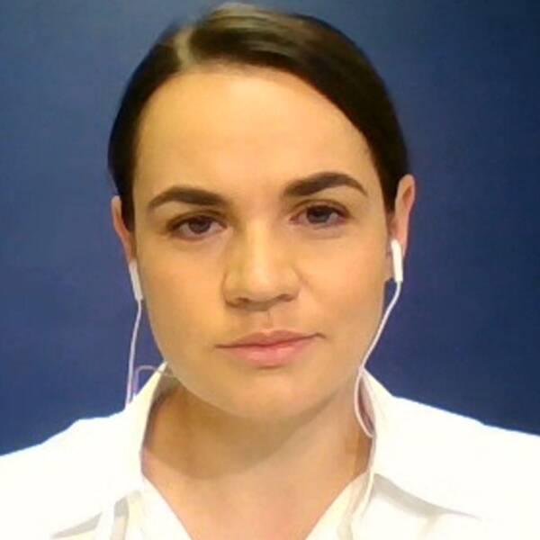 Belarusiska oppositionsledaren Svetlana Tichanovskaja.