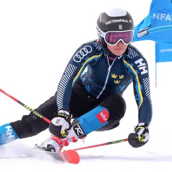 Charlotta Säfvenberg under en träning med svenska alpinlandslaget den 6 oktober 2019 i Pitztal.