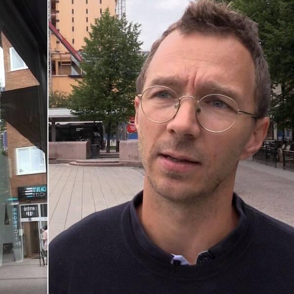 två bilder: en Skellefteå-skylt samt näringslivssamordnaren Joel Hedlund utomhus i stan