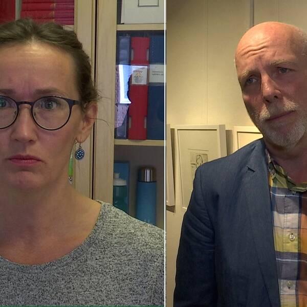 På bilden syns Camilla Eriksson Sundberg, ordförande i Vårdförbundet och Anders Öberg (S) oppositionsråd.