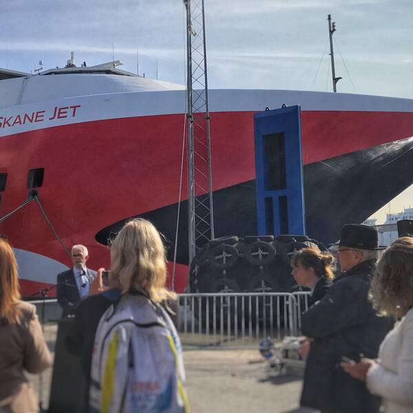 Fartyget Skane Jet i Ystad hamn.