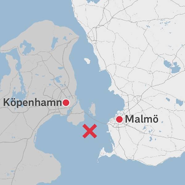 Karta över Skåne och Danmark