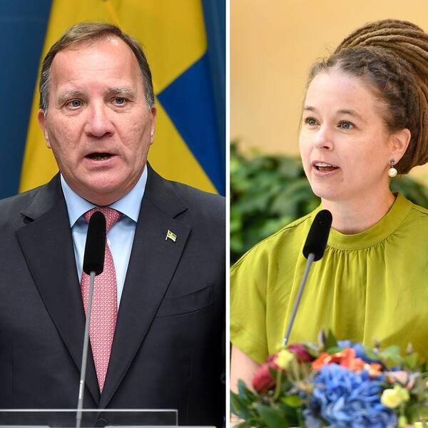 Mikael Damberg, Stefan Löfven och Amanda Lind.