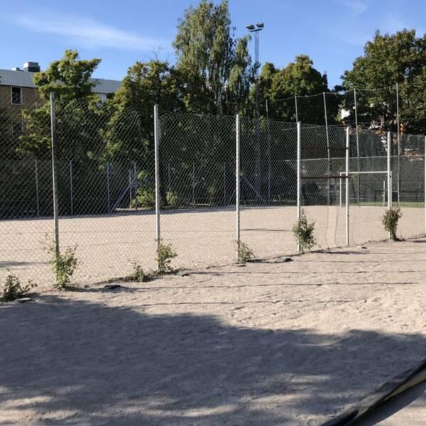 Zlatan, grusfotbollspan, grind, himmel och gult hus i Rosengård