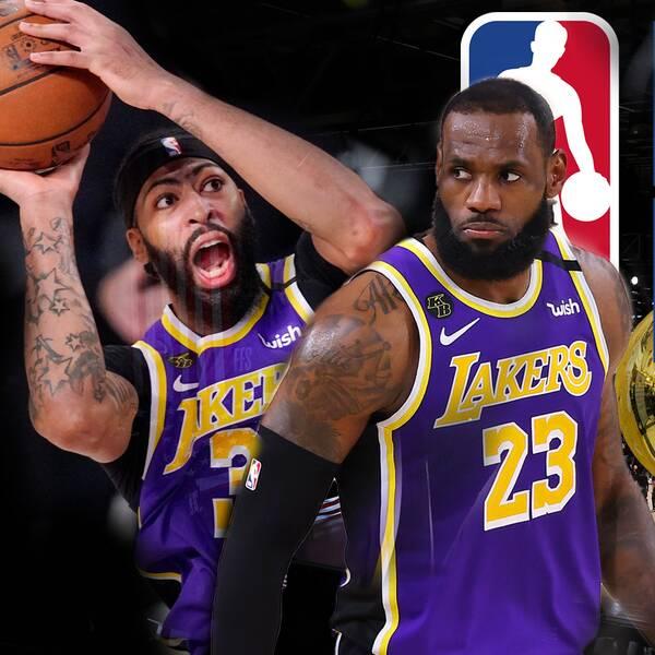 Från vänster: Anthony Davis och LeBron James i Los Angeles Lakers samt Jimmy Butler och Tyler Herro i Miami Heat.