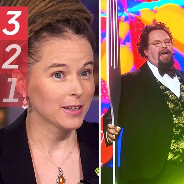 En bild på kulturminister Amanda Lind (MP), en bild på Edward Blom i Melodifestivalen och en bild på SD:s kulturpolitisk talesperson Aron Emilsson.