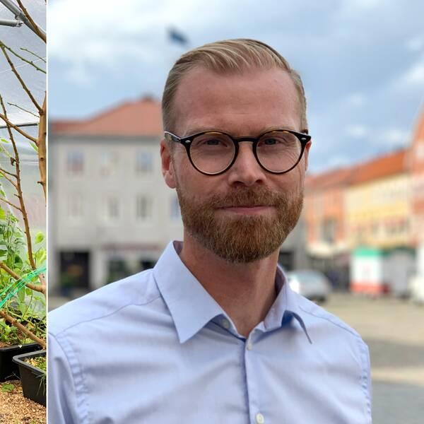 Delad bild: till vänster en bild på insidan av ett grönskande växthus, till höger bild på blond man iklädd blå skjorta och glasögon.