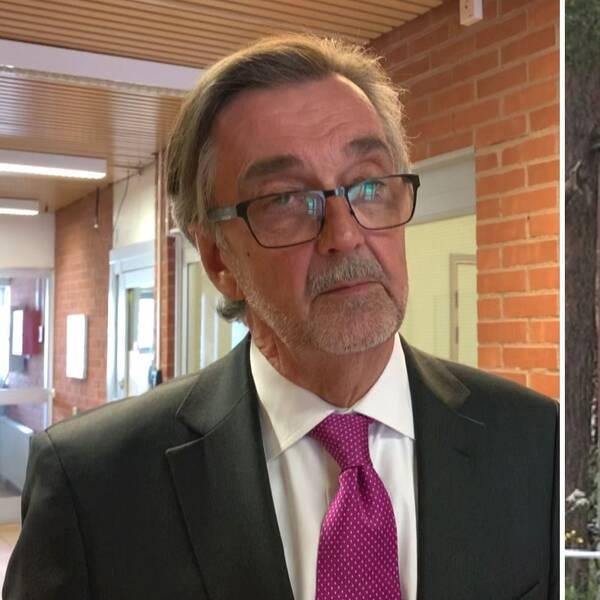 Advokat Gunnar Falk och huset där en man hittades mördad 2015.