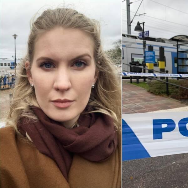 Frida Johansson står på tågstationen med avspärrningen bakom. Till höger en bild på avspärrningen.