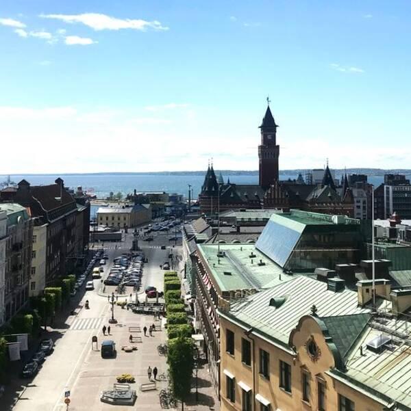 Utsikt från terasstrapporna i Helsingborg