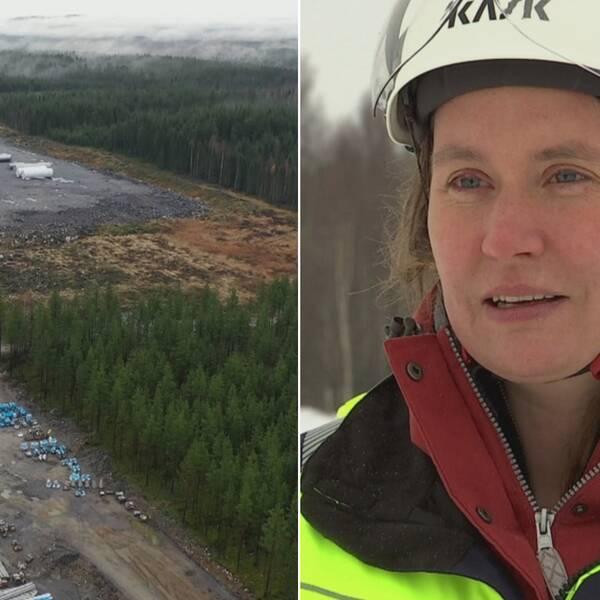Bild till vänster: Drönarbilder över ett industriområde i Skellefteå. Till höger näringslivschef Anja Palm, som intervjuas utomhus, iklädd hjälm.