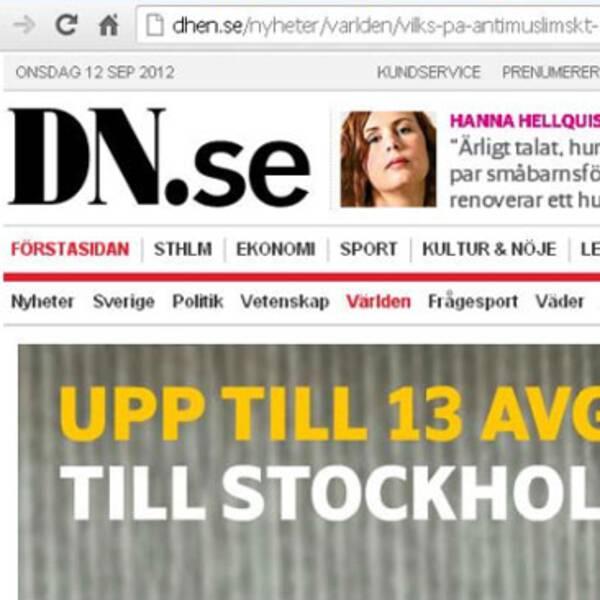 Skillnaderna mellan Dagens Nyheters sajt och hen-versionen är små.