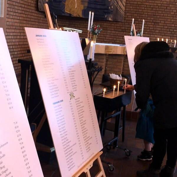 Namntavlor med de som avlidit under året och möjlighet att tända ljus fanns i Västerstrandskyrkan under dagen.