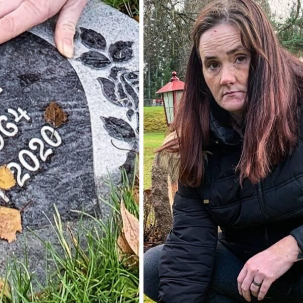 Närbild på gravsten samt Alexandra