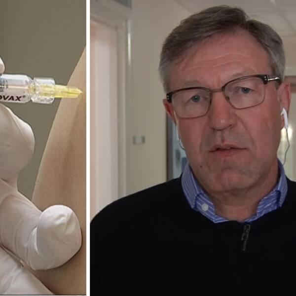 En spruta med influensavaccin ges i en arm. Smittskyddsläkaren Anders Lindblom intervjuas.
