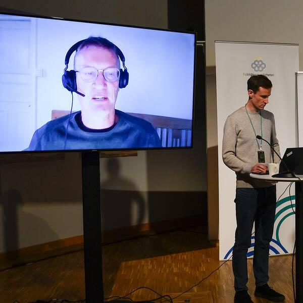 Anders Tegnell på videolänk.