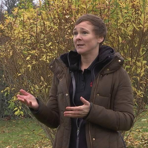 Veronika står framför en buske och gestikulerar med händerna.