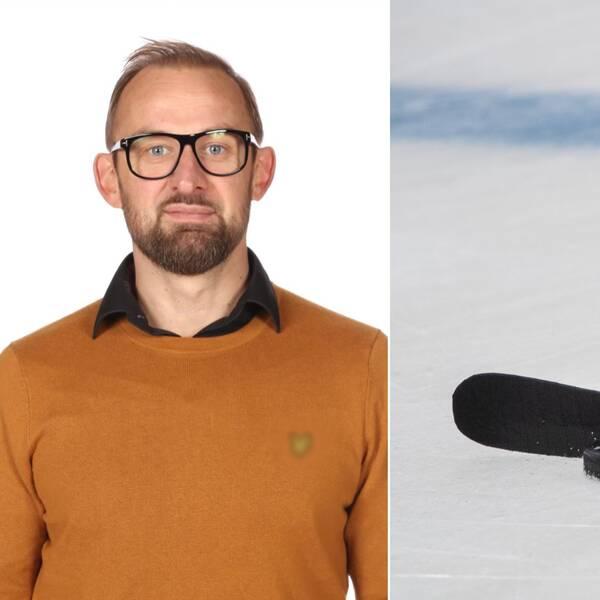 Bilden är ett collage. Den vänstra bilden är en porträttbild på Vimmerby Hockeys sportchef Morgan Persson, han har svarta glasögon och en brunorange tröja på sig. Den högra bilden är en bild på en hockyklubba och en puck på is.