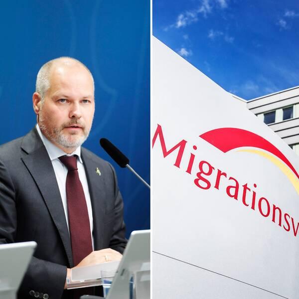 Arkivfoto på Morgan Johansson från presskonferens, Migrationsverkets lokaler och skärmdump på en kvinna från ett videosamtal.