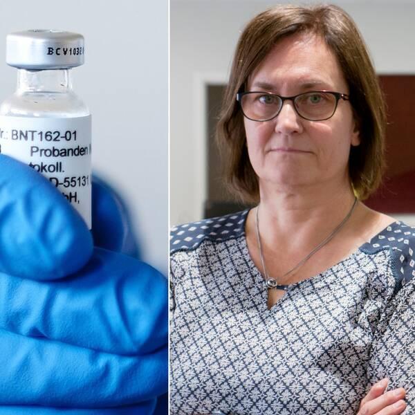 Bilden är ett collage med tre bilder. Den vänstra bilden är en porträttbild på smittskyddsläkaren Christian Romin Blomkvist från bröstet och uppåt. Den vänstra bilden är en bild på primärvårds- och rehabchef Lena Andersson Nazzal. Hon syns också från bröstet och uppåt. Mittenbilden är en bild på en hand i en blå gummihandske som håller i en vaccinflaska.