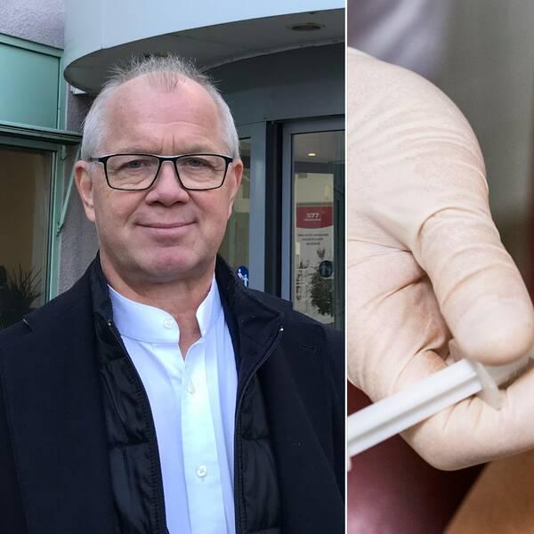 Bilden är ett collage. Den vänstra bilden är en porträttbild på Christer Jonsson, vice ordförande i regionstyrelsen Kalmar län. Han syns från bröstet och uppåt. Den högra bilden visar en arm och ett par plasthandskeklädda händer som håller i armen och i en spruta. Bilden föreställer en vaccination.