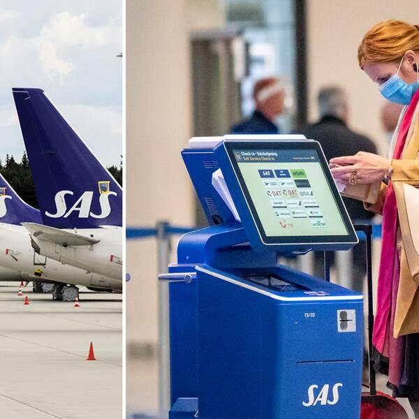 Bilden visar SAS-plan samt en kvinna med munskydd på flygplatsen Kastrup i Köpenhamn.