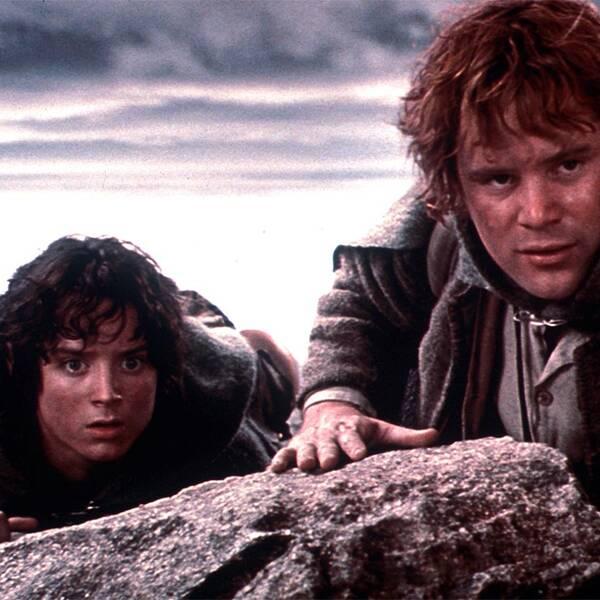 Sir Ian McKellen och en bild från filmen Sagan om ringen.