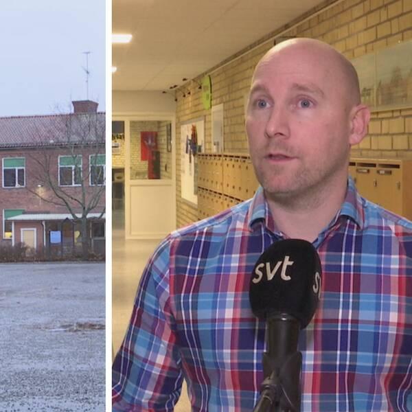 S:t Iliansskolans fasad och rektor Henrik Wikehult