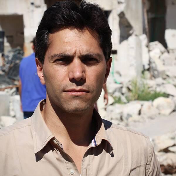Samir Abu Eid på reportageresa i syriska Kobane i mitten av maj.