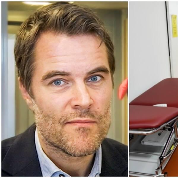 Två bilder. Biträdande hälso- och sjukvårddirektör Johan Kaarme och vårdpersonal.