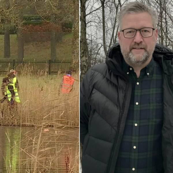 Bilden är ett collage. Den vänstra bilden är en porträttbild på Hans Sjögren kommunpolis i Ljungby. Han syns från midjan och uppåt. Han har på sig en svart dunjacka. Under den har han en blå - och grönrutig skjorta. Han har grått kortklippt hår, grått skägg och svarta rektangulära glasögon. Bakom honom skymtar nakna träd och en grå himmel. Den högra bilden föreställer fyra personer iklädda reflexvästar. De står i vassen vid ett vattendrag.
