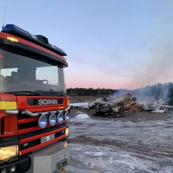 Villan i Segerstad är helt nedbrunnen efter morgonens brand.