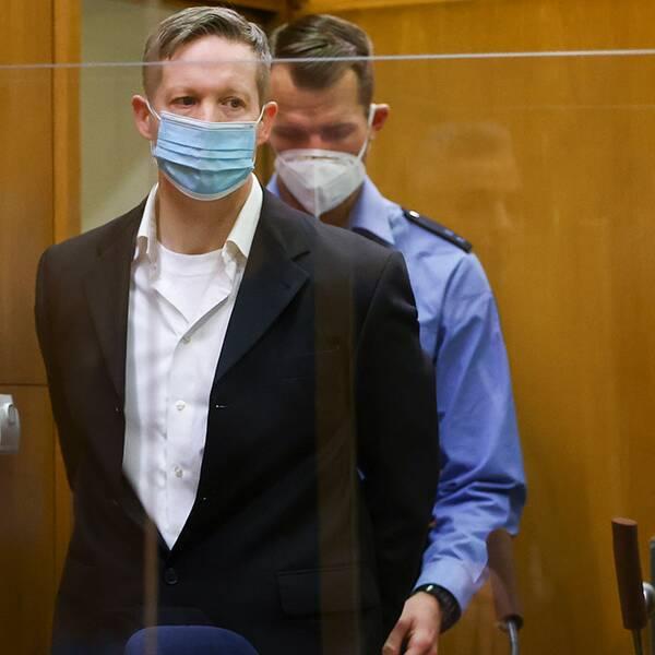 Stephan Ernst under rättegången i Frankfurt i Tyskland.