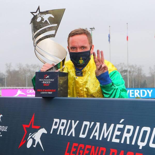 Travkusken Björn Goop blir avstängd i en vecka i Frankrike efter segern i storloppet Prix d'Amerique.