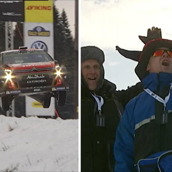 Bild till vänster en rallybil, i mitten två glada fans och till höger två firande förare.