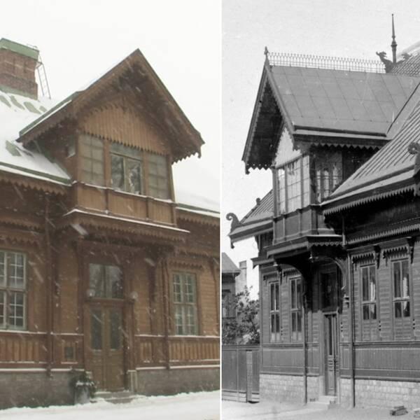 Till vänster: Nisse och Åsa tittar på gamla bilder på huset. I mitten syns en modern bild på Buregården och till höger en svartvit bild på byggnaden.