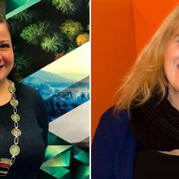 Margrethe Haarr (C), ordförande i Kongsvinger kommun och kollegan Kamilla Thue (AP) från Eidskog uttrycker sitt stöd för de svenska gränspendlarna.