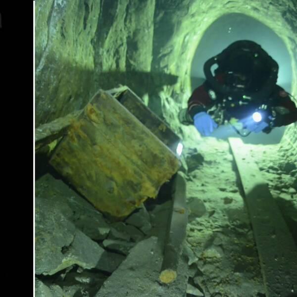 Verksamhetsutvecklaren Niklas Ulfvebrand i en skyddshjälm, och undervattensbild på dykare nere i en gång i Sala silvergruva.