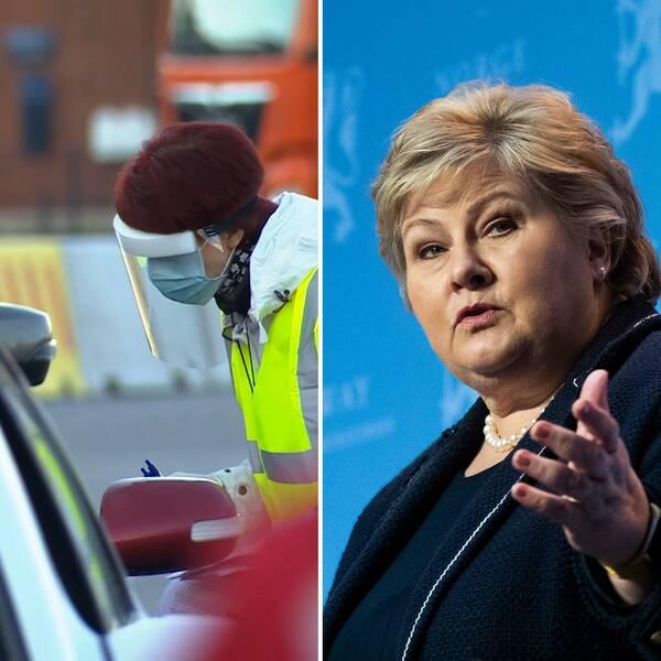 Bilden visar Sanna Marin, Finlands statsminister, en bilist som testas för corona och Erna Solberg, Norges statsminister.