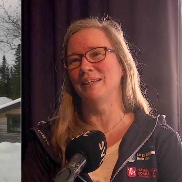 Bild på fjällstuga till vänster samt bild tagen ur videointervju föreställande Cilla Gauffin till höger