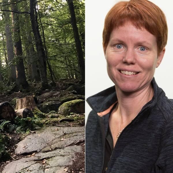 Grönskande skog till vänster i bild. Korthårig leende kvinna till höger i bild.