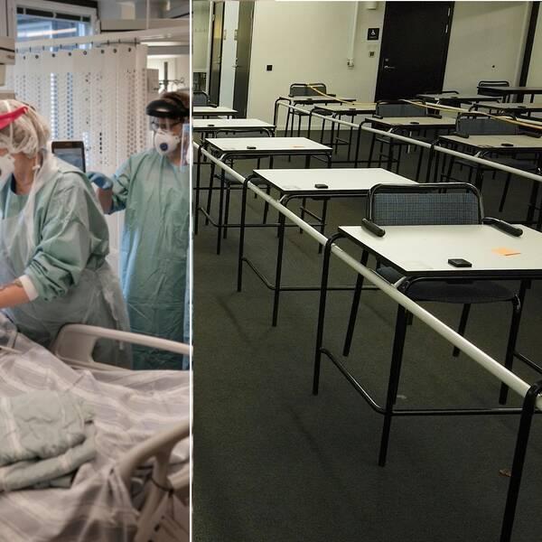 Bild på tre sjuksköterskor som opererar och en andra bild på ett tomt klassrum